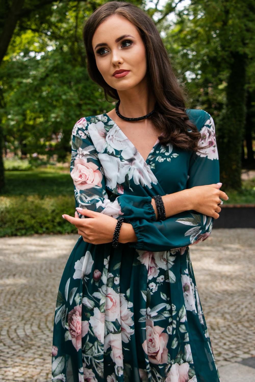 Butelkowo zielona kwiatowa sukienka przekładana maxi V-Neck Ninette 5