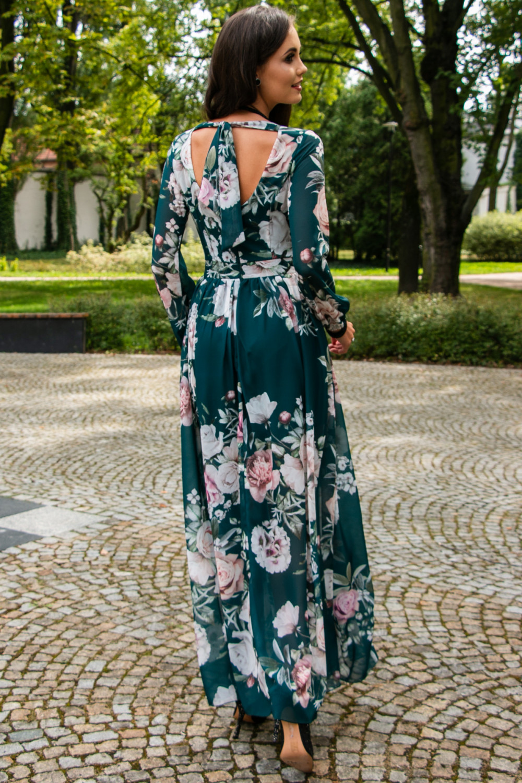 Butelkowo zielona kwiatowa sukienka przekładana maxi V-Neck Ninette 6