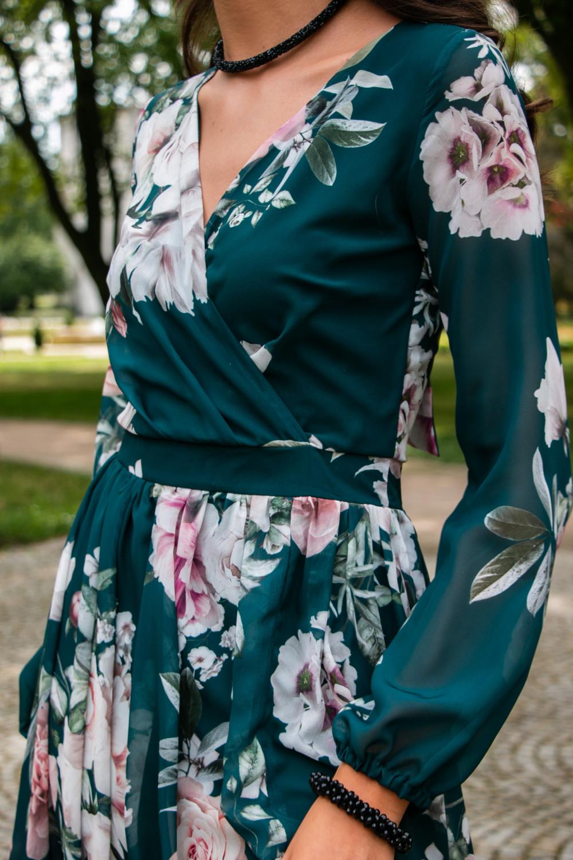 Butelkowo zielona kwiatowa sukienka przekładana maxi V-Neck Ninette 7