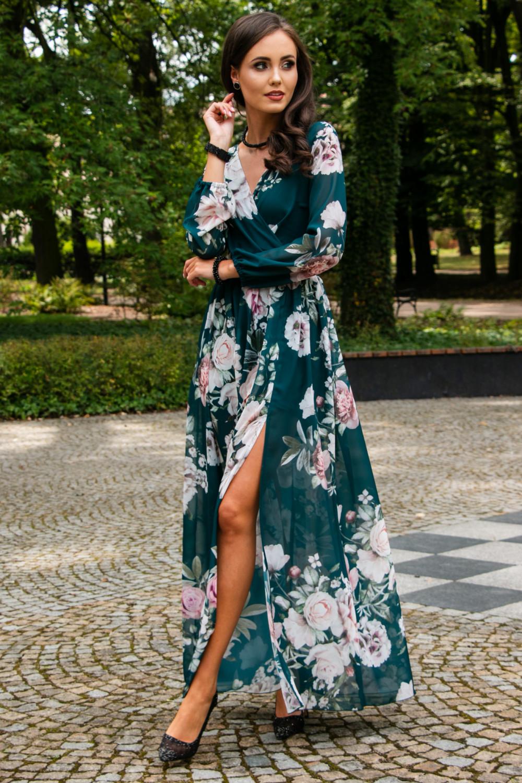 Butelkowo zielona kwiatowa sukienka przekładana maxi V-Neck Ninette 1