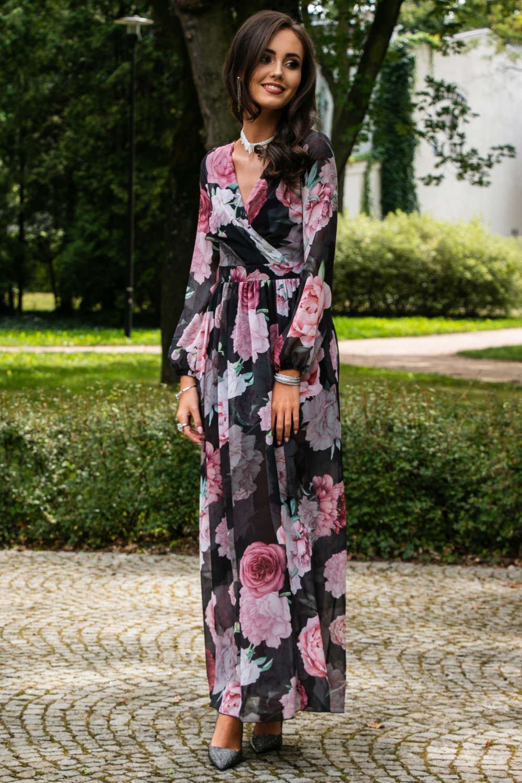 Czarno-różowa kwiatowa sukienka przekładana maxi V-Neck Ninette 3