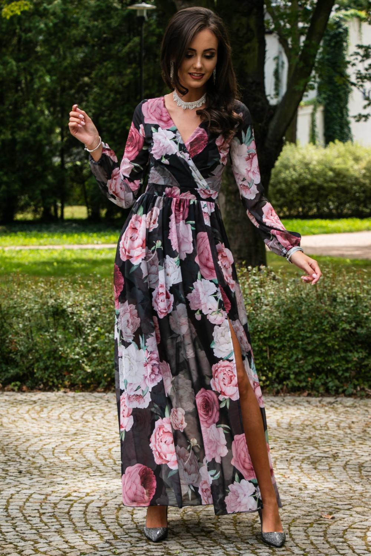 Czarno-różowa kwiatowa sukienka przekładana maxi V-Neck Ninette 2