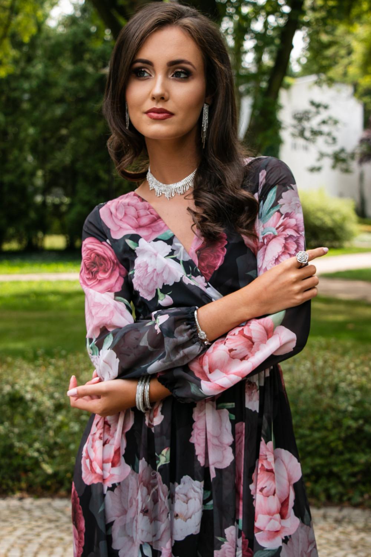 Czarno-różowa kwiatowa sukienka przekładana maxi V-Neck Ninette 5