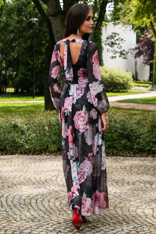 Czarno-różowa kwiatowa sukienka przekładana maxi V-Neck Ninette 7