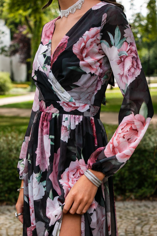 Czarno-różowa kwiatowa sukienka przekładana maxi V-Neck Ninette 6