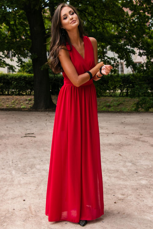 Czerwona sukienka wieczorowa kopertowa bez rękawów maxi Angeline 2