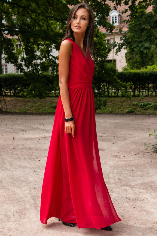 Czerwona sukienka wieczorowa kopertowa bez rękawów maxi Angeline 3