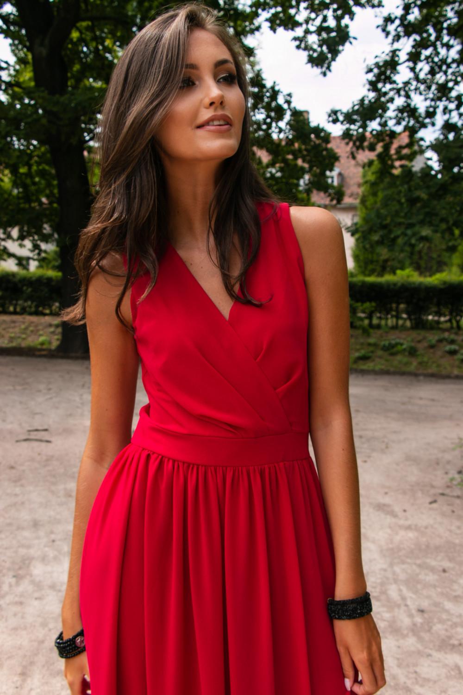 Czerwona sukienka wieczorowa kopertowa bez rękawów maxi Angeline 5