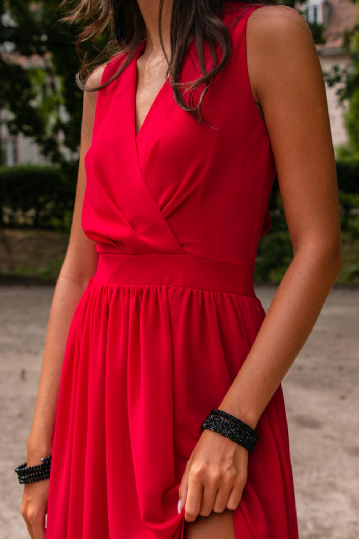 Czerwona sukienka wieczorowa kopertowa bez rękawów maxi Angeline 6