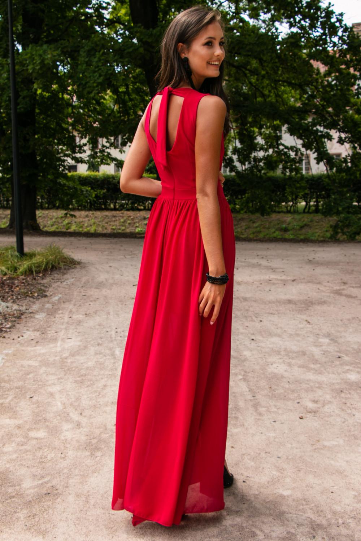 Czerwona sukienka wieczorowa kopertowa bez rękawów maxi Angeline 7
