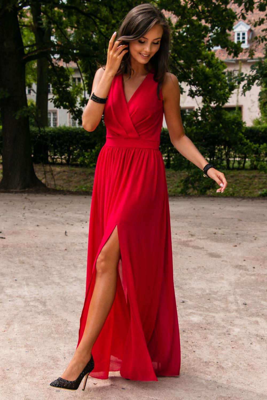 Czerwona sukienka wieczorowa kopertowa bez rękawów maxi Angeline 1