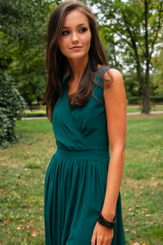Butelkowo zielona sukienka wieczorowa kopertowa bez rękawów maxi Angeline 3