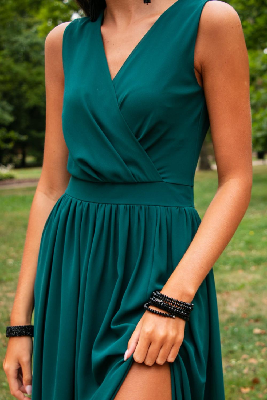 Butelkowo zielona sukienka wieczorowa kopertowa bez rękawów maxi Angeline 5