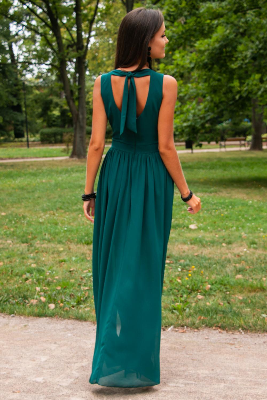 Butelkowo zielona sukienka wieczorowa kopertowa bez rękawów maxi Angeline 6