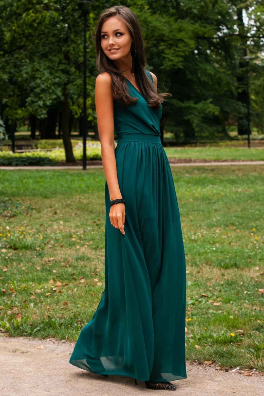 Butelkowo zielona sukienka wieczorowa kopertowa bez rękawów maxi Angeline 2