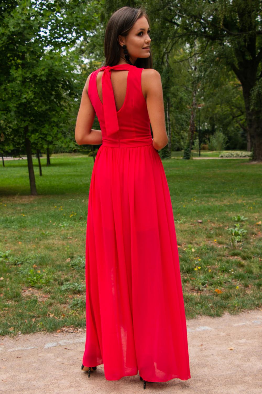 Koralowa sukienka wieczorowa kopertowa bez rękawów maxi Angeline 6
