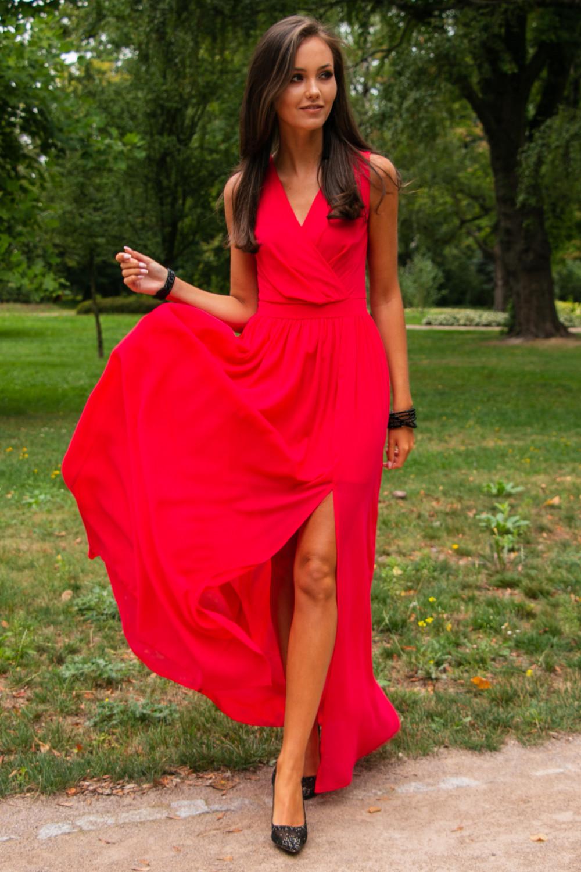 Koralowa sukienka wieczorowa kopertowa bez rękawów maxi Angeline 1