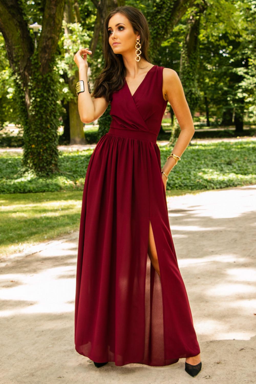Bordowa sukienka wieczorowa kopertowa bez rękawów maxi Angeline 3