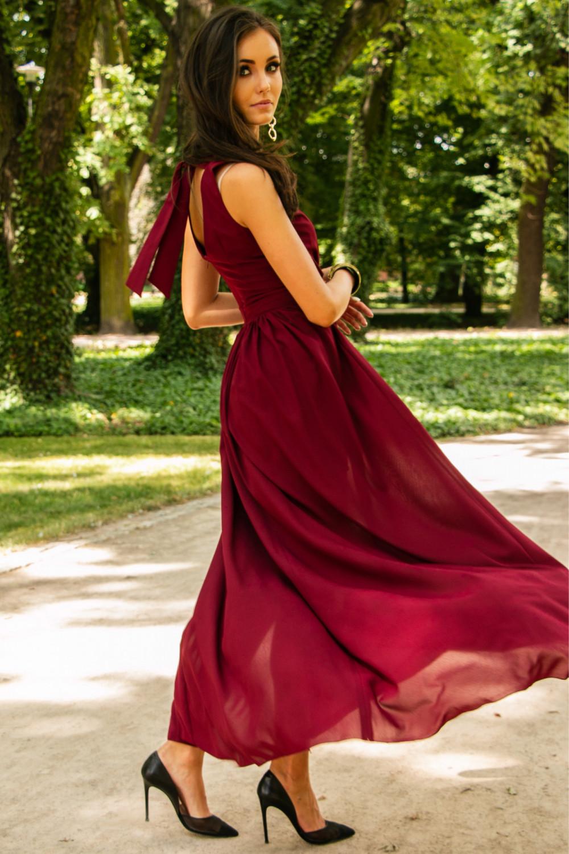 Bordowa sukienka wieczorowa kopertowa bez rękawów maxi Angeline 5
