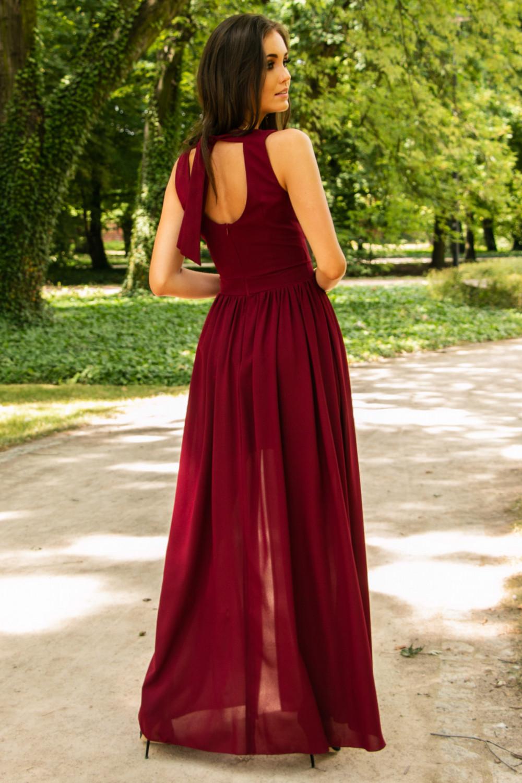 Bordowa sukienka wieczorowa kopertowa bez rękawów maxi Angeline 10