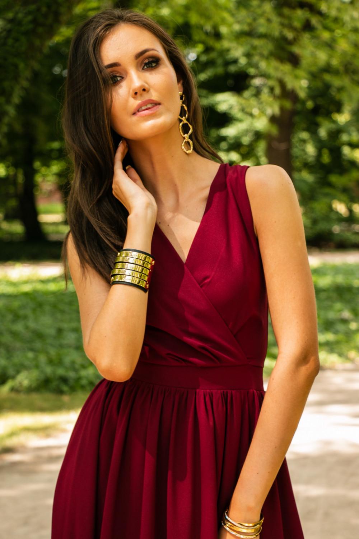 Bordowa sukienka wieczorowa kopertowa bez rękawów maxi Angeline 6