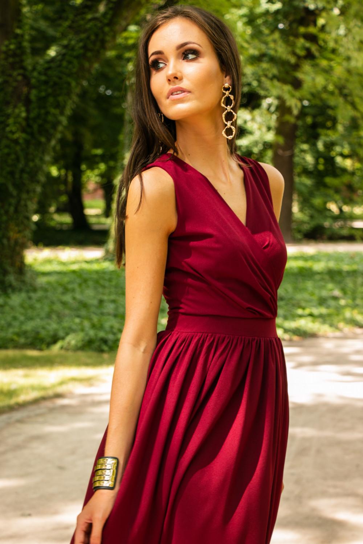 Bordowa sukienka wieczorowa kopertowa bez rękawów maxi Angeline 7