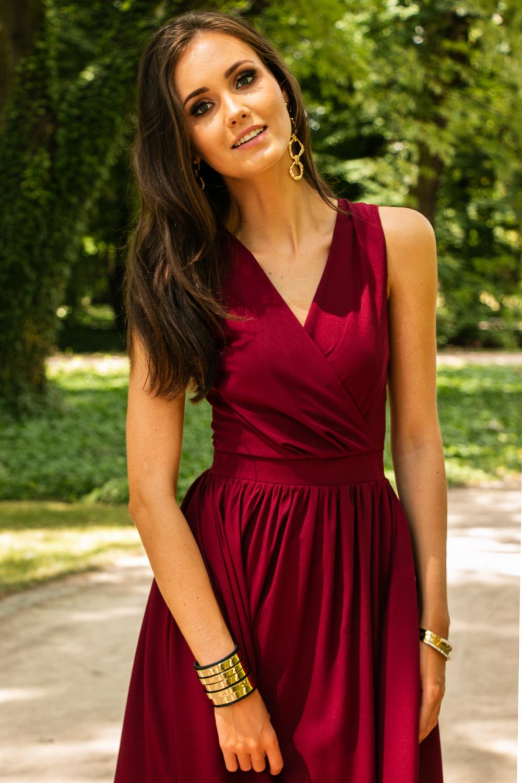 Bordowa sukienka wieczorowa kopertowa bez rękawów maxi Angeline 8