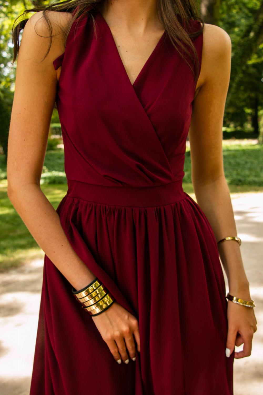 Bordowa sukienka wieczorowa kopertowa bez rękawów maxi Angeline 9