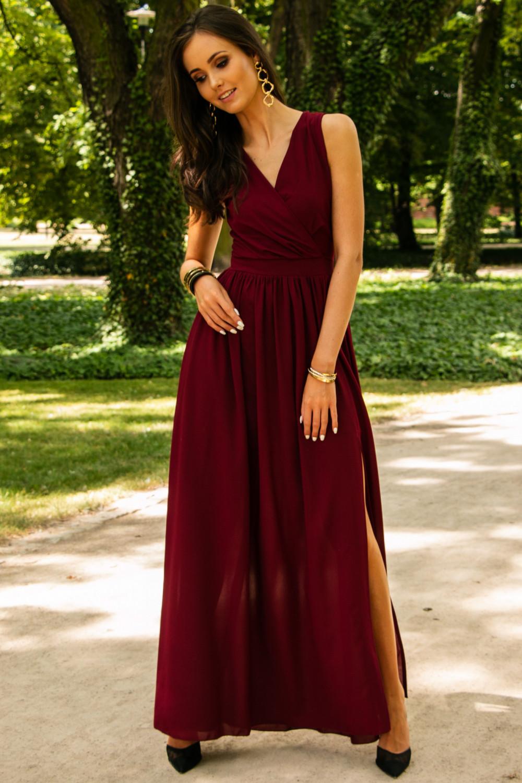 Bordowa sukienka wieczorowa kopertowa bez rękawów maxi Angeline 4