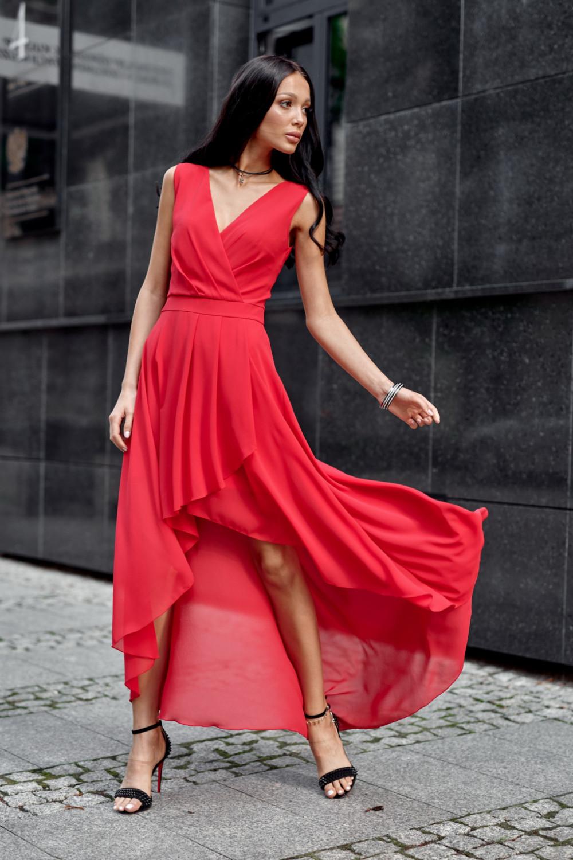 Czerwona asymetryczna sukienka wieczorowa V-Neck maxi Annabelle 2