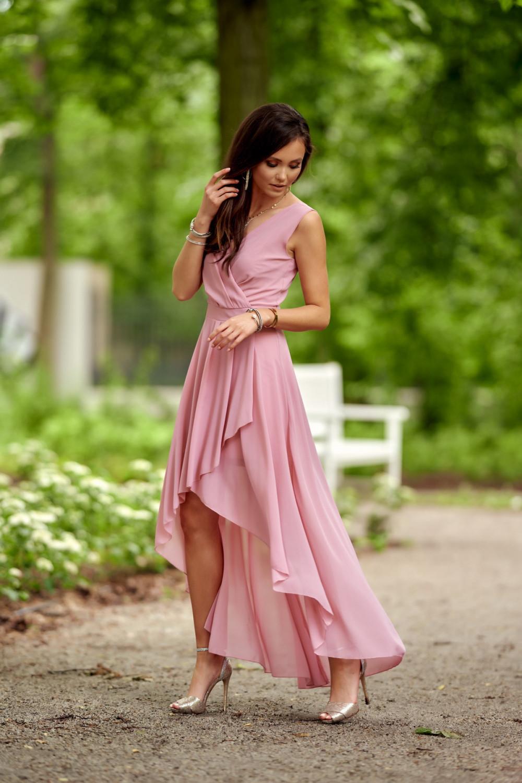 Jasnoróżowa asymetryczna sukienka wieczorowa V-Neck maxi Annabelle 2