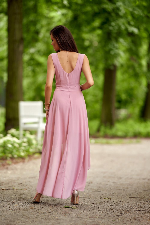 Jasnoróżowa asymetryczna sukienka wieczorowa V-Neck maxi Annabelle 3