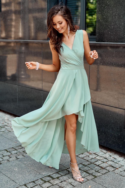 Miętowa asymetryczna sukienka wieczorowa V-Neck maxi Annabelle 1