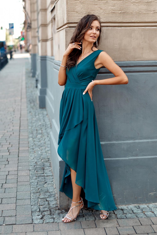 Niebieska asymetryczna sukienka wieczorowa V-Neck maxi Annabelle 3