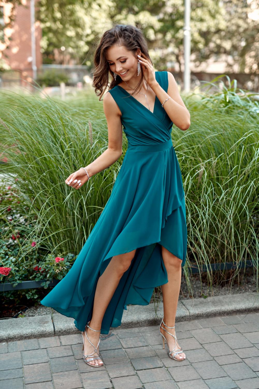 Niebieska asymetryczna sukienka wieczorowa V-Neck maxi Annabelle 1