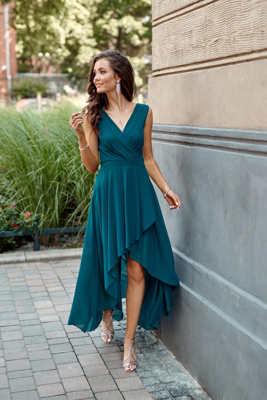 Niebieska asymetryczna sukienka wieczorowa V-Neck maxi Annabelle 2