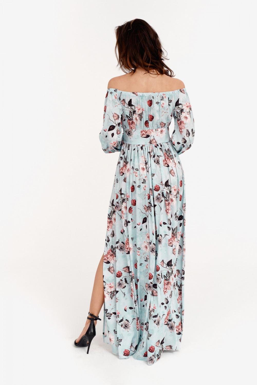 Jasnoniebieska kwiatowa sukienka hiszpanka z bufiastym rękawem maxi Ariane 3