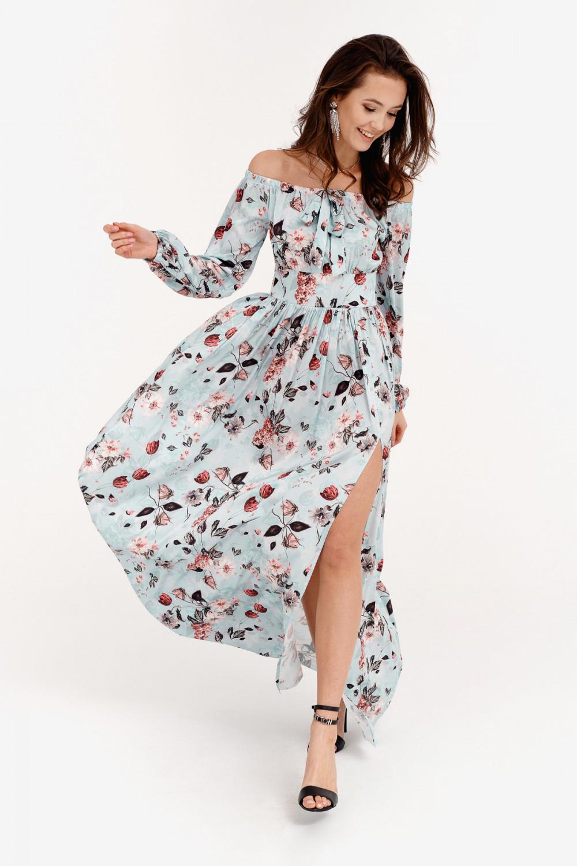 Jasnoniebieska kwiatowa sukienka hiszpanka z bufiastym rękawem maxi Ariane 2