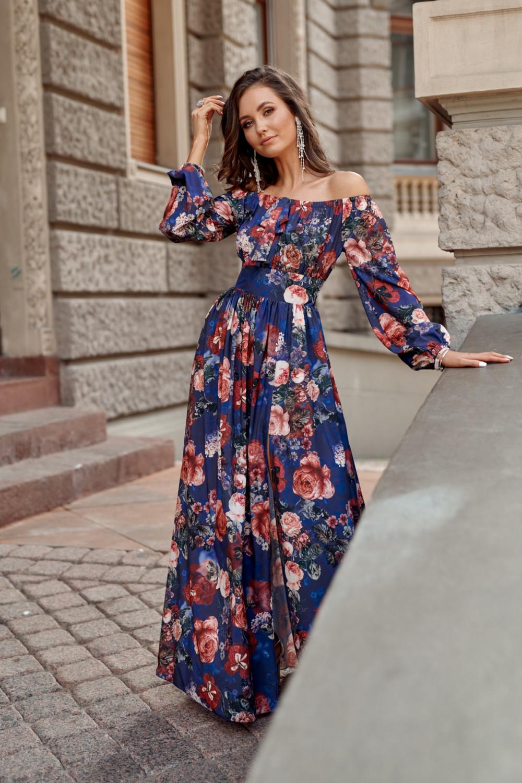 Niebieska kwiatowa sukienka hiszpanka z bufiastym rękawem maxi Ariane 2