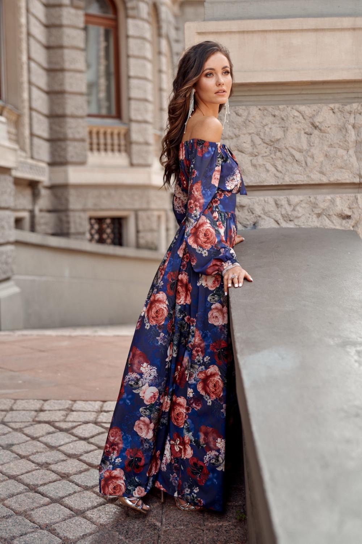 Niebieska kwiatowa sukienka hiszpanka z bufiastym rękawem maxi Ariane 3