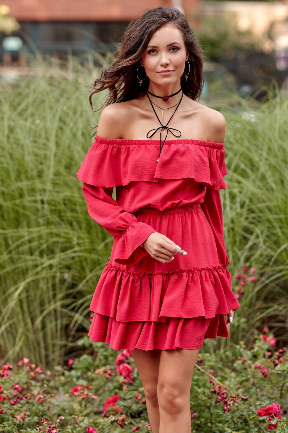 Malinowa sukienka hiszpanka z falbankami Carmen 1