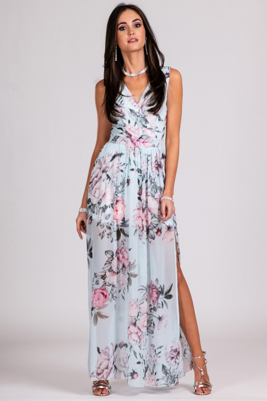 Jasnoniebieska kwiatowa sukienka V-Neck maxi Christelle 2