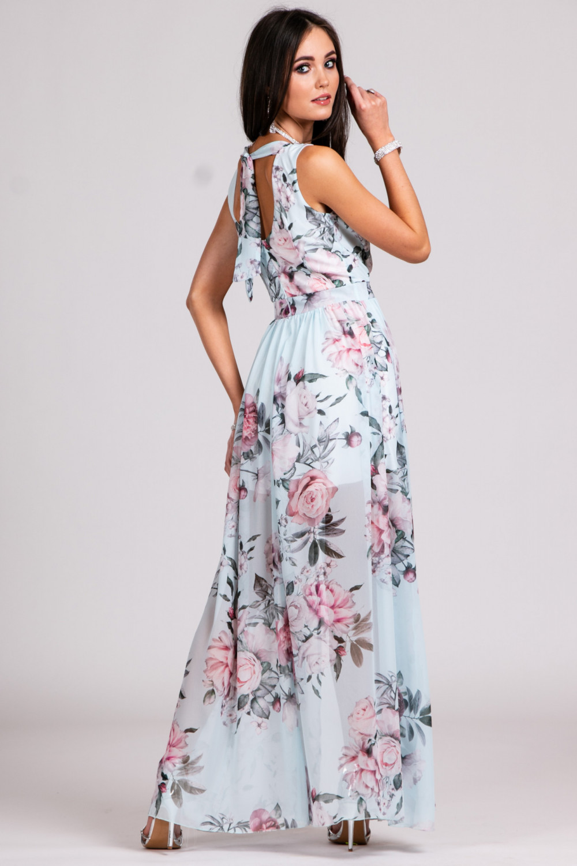 Jasnoniebieska kwiatowa sukienka V-Neck maxi Christelle 3