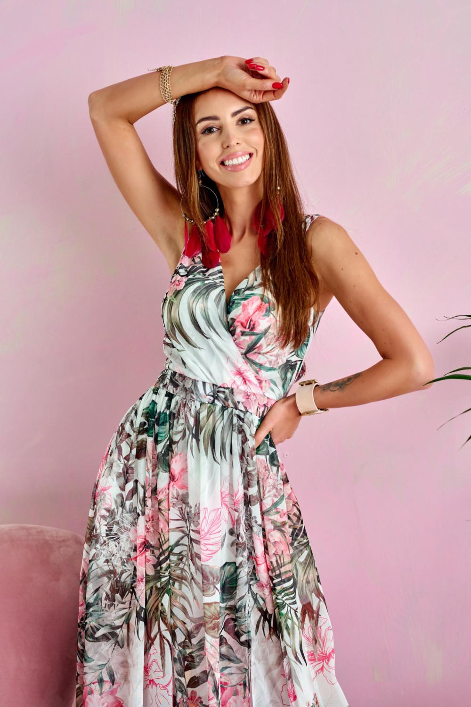Zielono-różowa kwiatowa sukienka V-Neck maxi Christelle 2