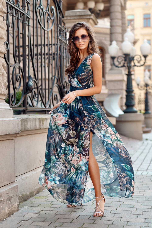 Ciemnoniebieska kwiatowa sukienka V-Neck maxi Christelle 2