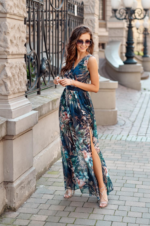 Ciemnoniebieska kwiatowa sukienka V-Neck maxi Christelle 3