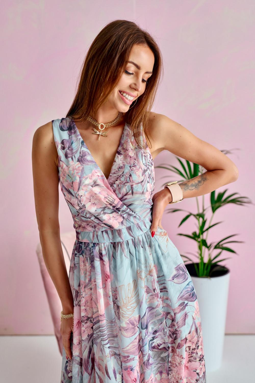 Niebiesko-różowa kwiatowa sukienka V-Neck maxi Christelle 2