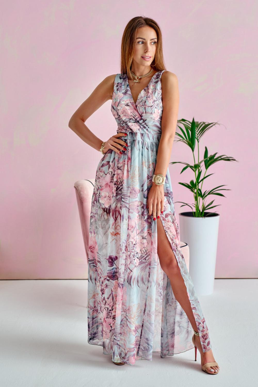 Niebiesko-różowa kwiatowa sukienka V-Neck maxi Christelle 1