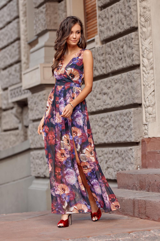 Fioletowa kwiatowa sukienka V-Neck maxi Christelle 2