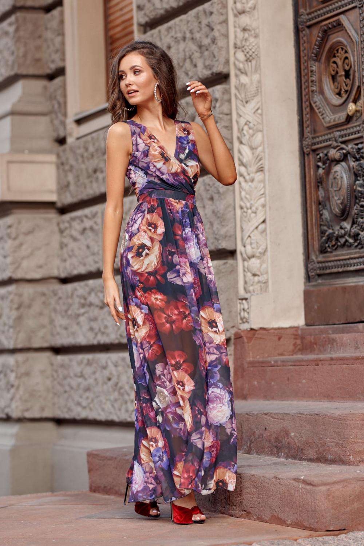Fioletowa kwiatowa sukienka V-Neck maxi Christelle 3